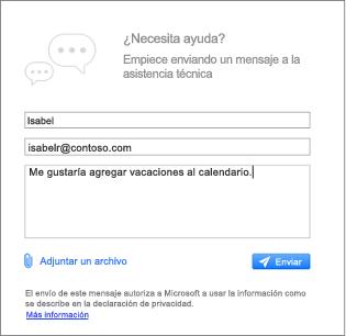 Póngase en contacto con el cuadro de diálogo de soporte técnico donde puede escribir el mensaje y adjunte imágenes
