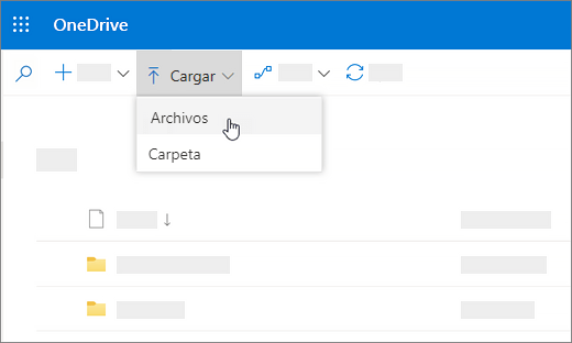 Captura de pantalla que muestra Cargar seleccionado