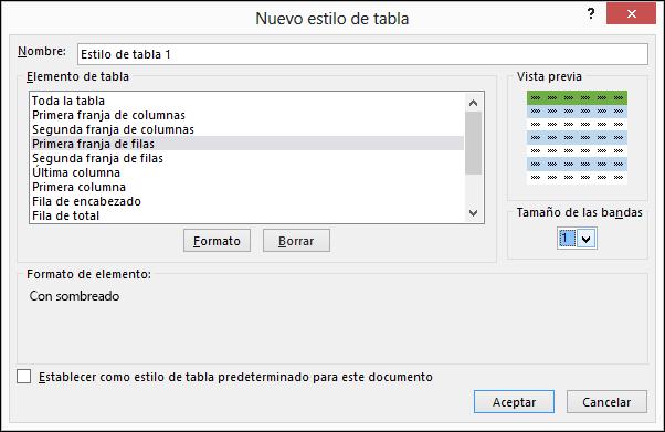 Opciones del cuadro de diálogo Nuevo estilo de tabla para aplicar estilos personalizados a una tabla