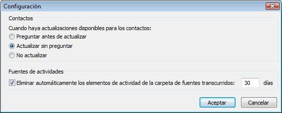 Cuadro de diálogo Configuración de Outlook Social Connector