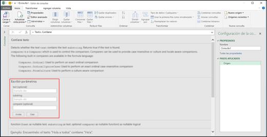 Controles de entrada en línea para la invocación de funciones de Power BI para Excel en el Editor de consultas