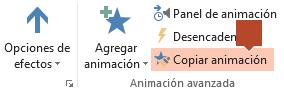 La característica Copiar animación está disponible en la cinta de la barra de herramientas Animación cuando se selecciona un elemento animado en una diapositiva.