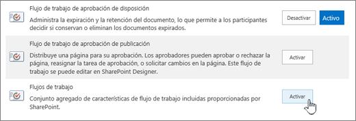 Característica de colección de sitios, lo que permite a los flujos de trabajo