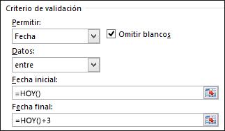 Configuración de criterios de validación para restringir la entrada de datos a un período de tiempo específico