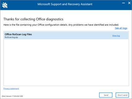 Una imagen de la ventana Asistente de soporte y recuperación de Microsoft con registros recopilados.