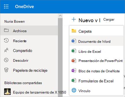 "Menú ""Nuevo archivo o carpeta"" en OneDrive para la Empresa"