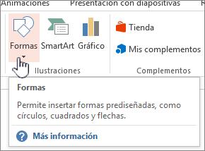 Botón de formas de insertar de PowerPoint