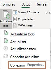 El mouse apunta al comando propiedades de conexión de la cinta de opciones