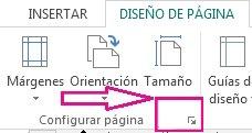 Selector de cuadro de diálogo Configurar página