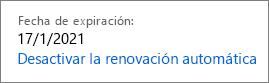 Active la renovación automática.