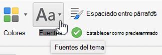 Botón de diseño ficha fuentes