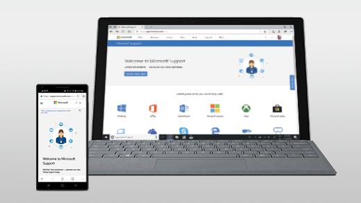 Página Web abierta en Android y Surface Pro