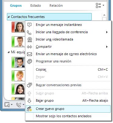 Crear grupo nuevo seleccionado haciendo clic con el botón derecho en un grupo existente
