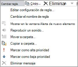 Editar configuración de regla