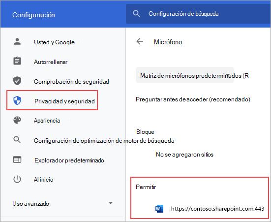 Página de configuración de permisos de micrófono para Chrome