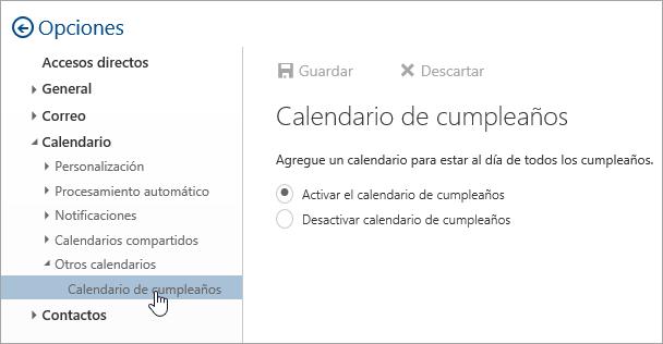 Una captura de pantalla del menú de calendarios brithday de configuración