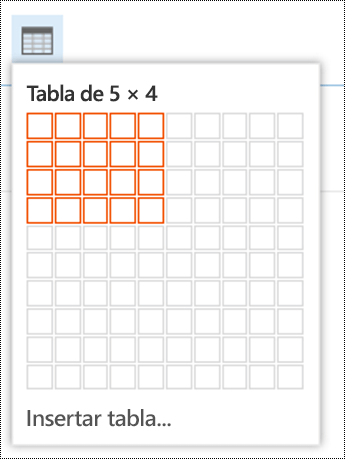 Agregar una tabla simple en Outlook en la Web.