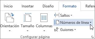 Números de línea en el grupo Configurar página