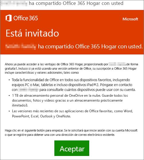 Correo electrónico que anuncia que alguien ha compartido con usted Office 365 Hogar