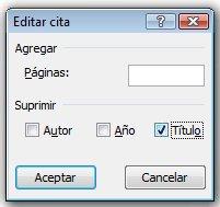 Haga clic en la casilla de verificación Título y en Aceptar