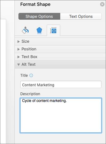 Captura de pantalla del panel Formato de forma con los cuadros de texto alternativo que describe la imagen seleccionada