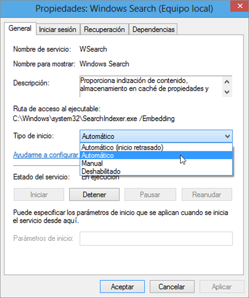 Captura de pantalla del cuadro de diálogo Propiedades de búsqueda de Windows muestra la configuración que automática seleccionada para el tipo de inicio.