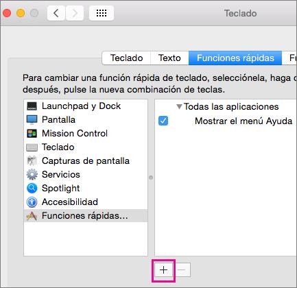 Método abreviado de teclado personalizado de Office 2016 para Mac