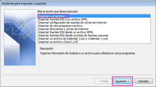 Elija Exportar a un archivo y Siguiente.
