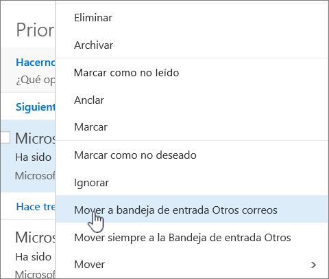 Captura de pantalla de la bandeja de entrada con la opción Filtro > Mostrar la Bandeja de entrada prioritaria seleccionada.