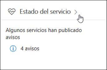 Tarjeta del panel de información de estado del servicio