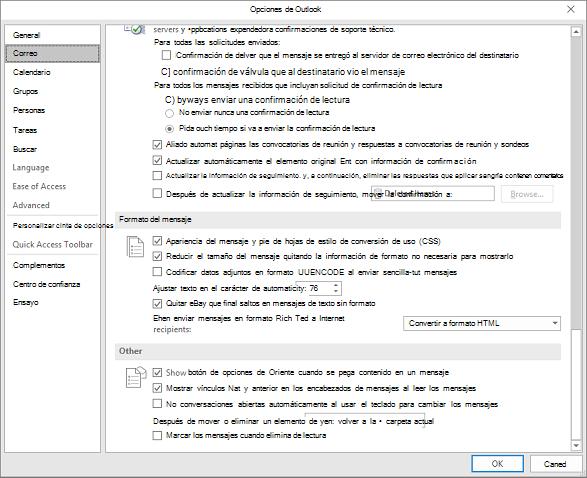 Página de opciones de Outlook con la categoría correo resaltado