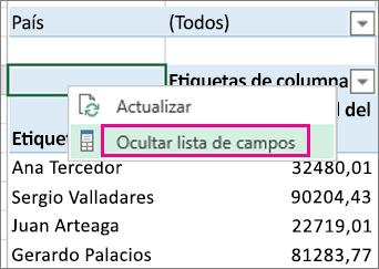 Comando Mostrar lista de campos en el menú contextual