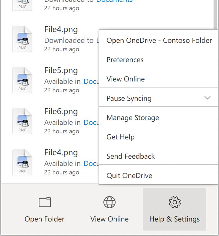Muestra el menú Configuración & ayuda de OneDrive, con Preferencias cerca de la parte superior.
