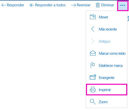 Imprimir un mensaje de correo electrónico en Correo para Windows 10