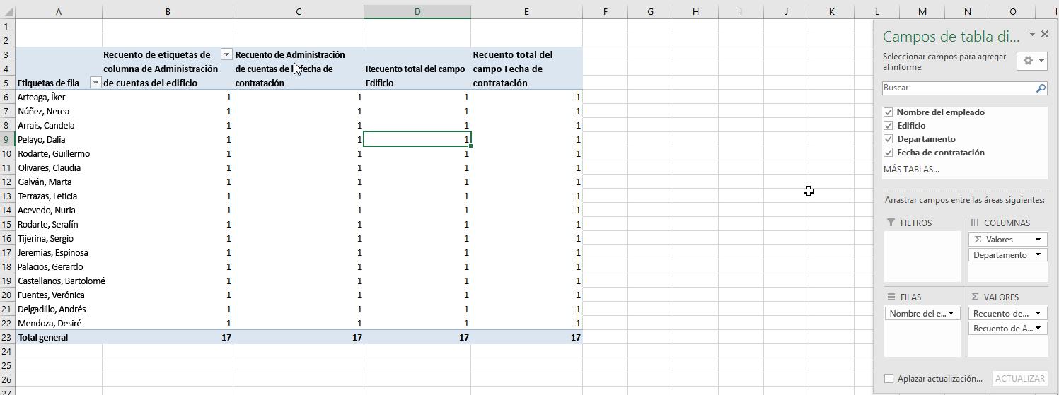 Seleccione los campos de la tabla dinámica