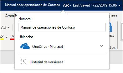 El menú desplegable del título del documento en Word para Office 365