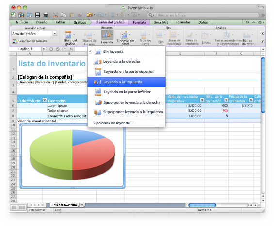 Interfaz de Excel que muestra la cinta de opciones de Office para Mac