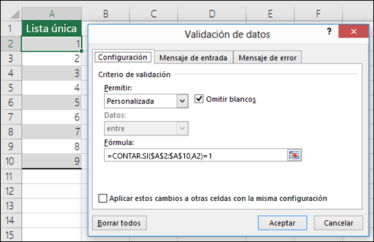 Ejemplo 4: Fórmulas en la validación de datos