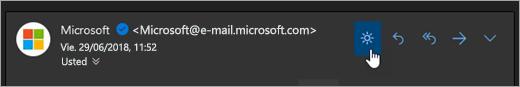 Una captura de pantalla del botón Encender la luz