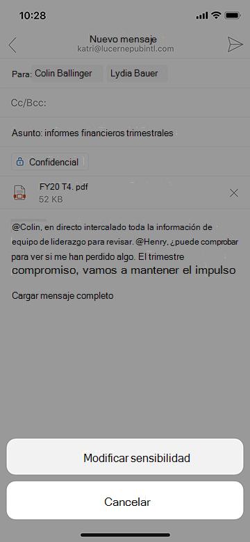 Modificar la confidencialidad en Outlook Mobile