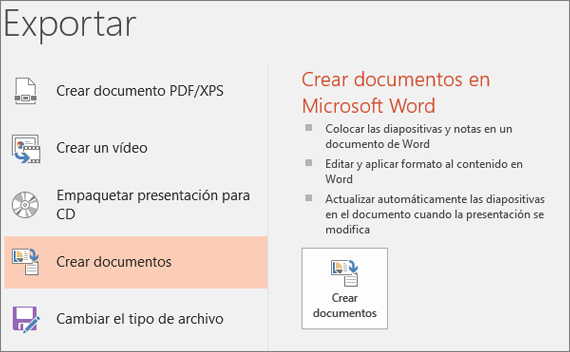 Recorte de pantalla de la interfaz de usuario de PowerPoint que muestra Archivo > Exportar > Crear documentos.