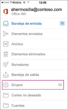Grupos es un nodo en la lista de carpetas de Outlook mobile