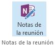 Captura de pantalla del icono de las notas de reunión en la cinta de opciones de la convocatoria