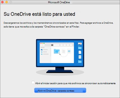 Captura de pantalla de la última pantalla del asistente de bienvenida a OneDrive en un equipo Mac