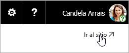 Captura de pantalla del botón Ir al sitio en el sitio web de OneDrive.