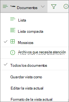 Vista de biblioteca de documentos de Office 365 cambio