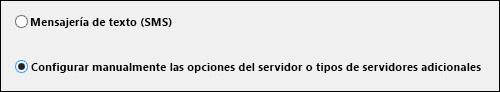 Configurar manualmente las opciones del servidor en Outlook 2010