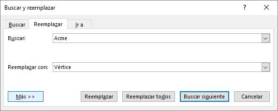 En Outlook, cuadro de diálogo Buscar y reemplazar.