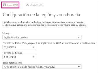 Configuración de región y zona horaria