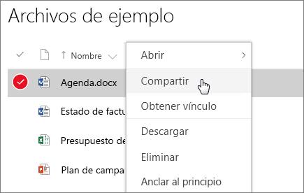 Captura de pantalla del menú contextual de un documento con la opción Compartir activa.